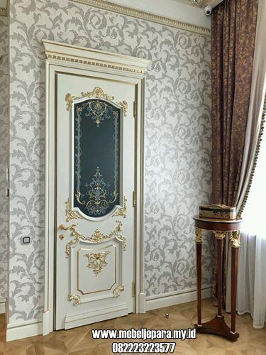 Pintu Kamar Putih Desain Mewah Kaca Tengah