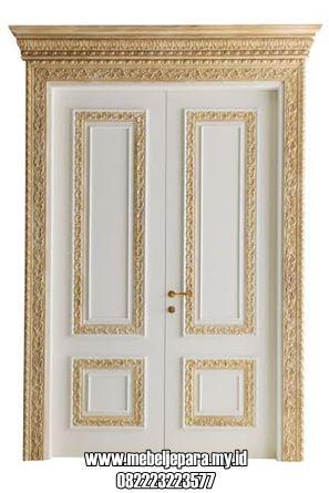 Pintu Rumah Depan Ukir Jepara Cat Duco