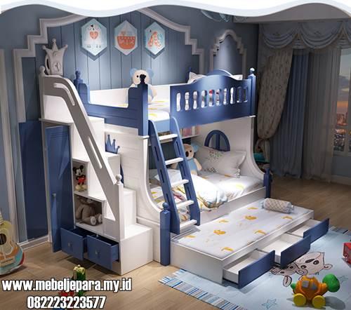 Tempat Tidur Susun Anak Warna Biru Dan Putih