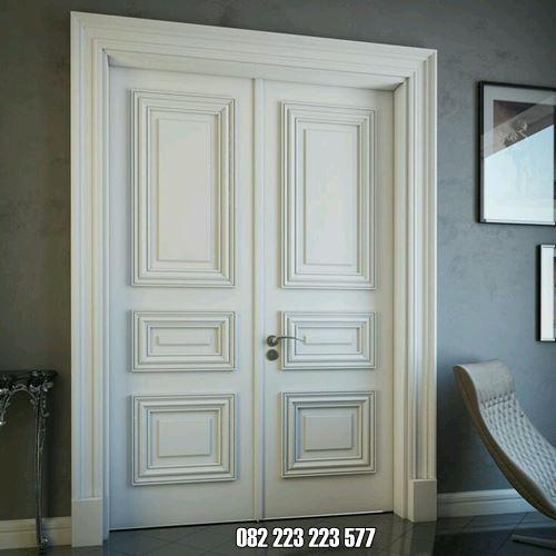 Kusen Minimalis Dua Pintu Cat Duco Putih