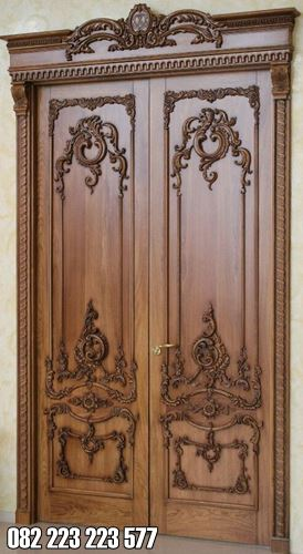 Pintu Kamar Kupu Tarung Dua Daun Ukir Klasik Jati