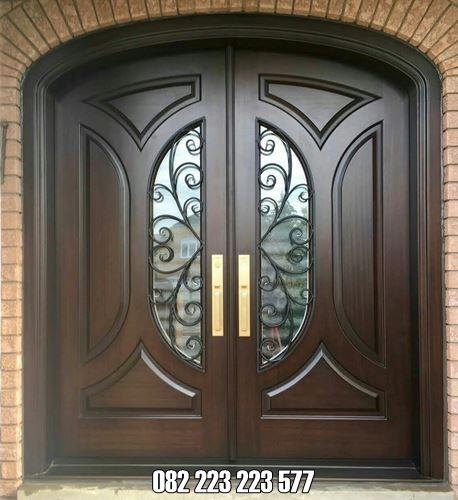 Pintu Minimalis Modern Daun Kupu Tarung Jati