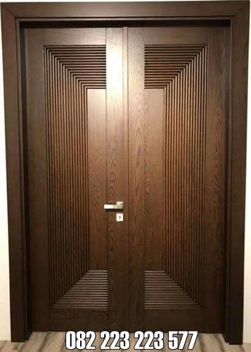 Pintu Motif Minimalis Garis Tali Air Kupu Tarung Jati