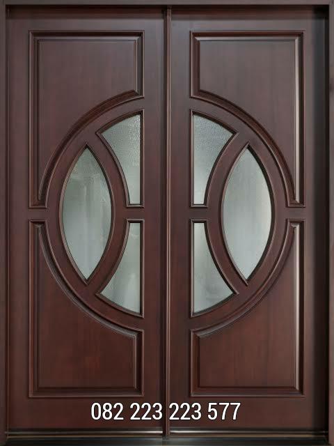 Pintu Rumah Jati Minimalis Motif Kaca Bundar