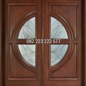 Pintu Rumah Motif Kaca Tengah Kayu Jati