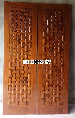 Pintu Anyaman Tikar Minimalis Terbaru Kayu Jati