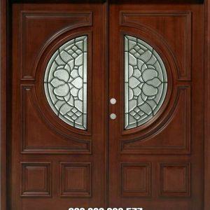 Pintu Kupu Tarung Kaca Minimalis Kayu Jati