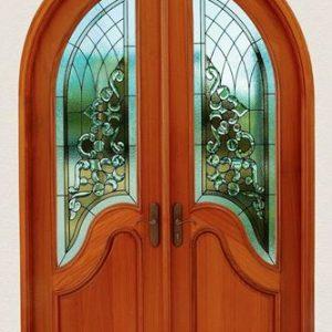 Pintu Model Lengkung Kayu Jati Variasi Kaca Patri