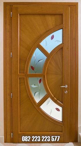 Pintu Kaca Setengah Lingkar Model Single Jati Jepara