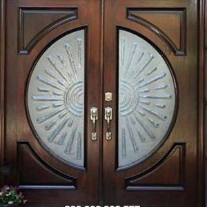 Pintu Motif Kaca Patri Rumah Minimalis Jati Jepara