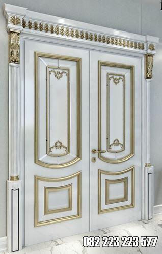 Desain Pintu Rumah Utama Model Warna Putih Gold Terbaru