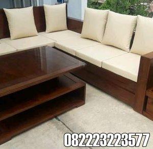 Kursi Jati Minimalis Model Sudut Balok Plus Bantalan Sofa