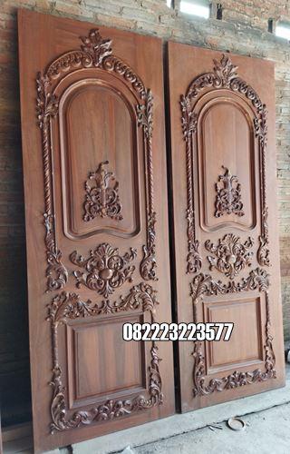 Pintu Rumah Utama Desain Ukir Kayu Jati
