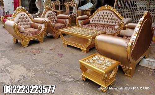 Sofa Tamu Klasik Mewah Ukiran Jepara Warna Gold Prada