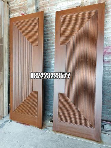 Pintu Utama Minimalis 2 Daun Kayu Jati Jepara